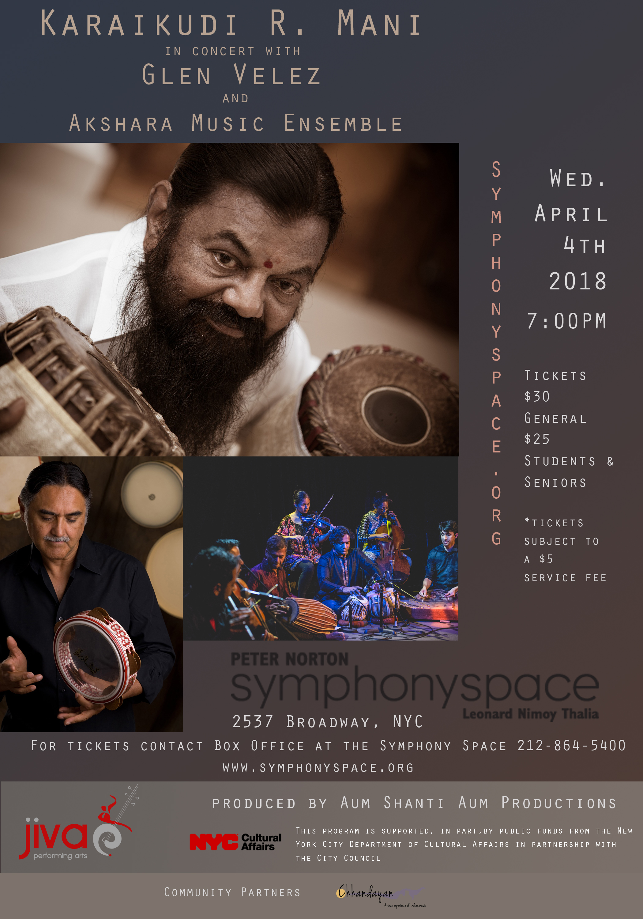 Mridangam Maestro Karaikudi Mani and Glen Velez in Concert April 4th